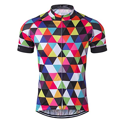 Men's Cycling Jersey Short Sleeve Bike Clothing Multicolored Diamond Size XL