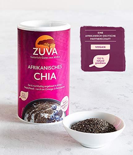ZUVA Afrikanisches schwarzes Chia: Superfood, reich an Omega-3 und eine wertvolle Protein- und Ballaststoffquelle (250g), 2er Pack