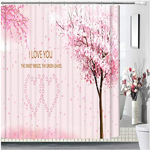 Liebe Herz Pfirsichblüte Duschvorhang, hochwertige, 100prozent Polyesterfaser, wasserdicht, Antischimmel-Effekt, einschlielich 12 Duschvorhangringe