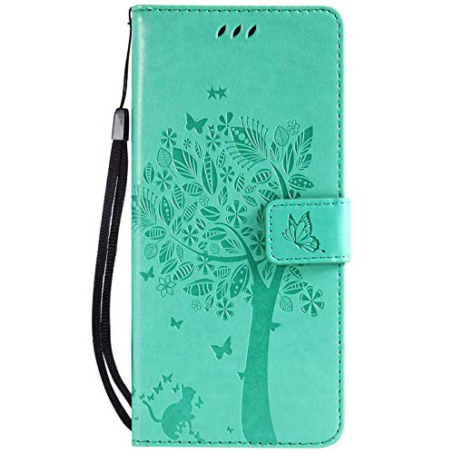 Hancda Hülle für Sony Xperia L3, Schutzhülle Leder Handytasche Flip Hülle Handyhüllen Lederhülle Tasche Dünn Silikon Hülle Magnet Cover für Sony Xperia L3,Hülle Grün