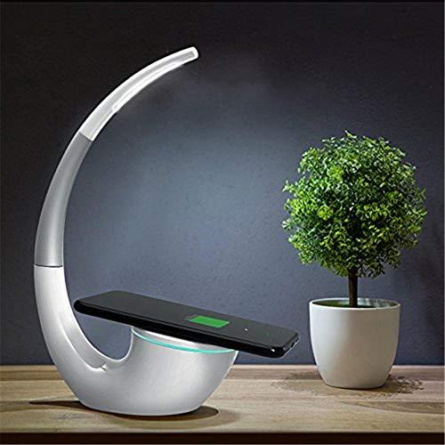 QOTS LED-Schreibtischlampe mit kabellosem Ladeständer und USB-Anschluss Intelligenter Augenpflegesensor für das Büro zu Hause