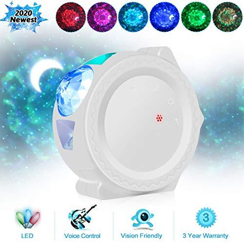 Starry Sky Projector LED Nebula Cloud Night Light 6 Colors Ocean Waving Light 360 Degree Rotation...