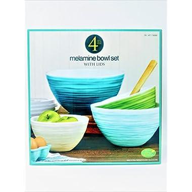 4 Melamine Bowl Set with Lids