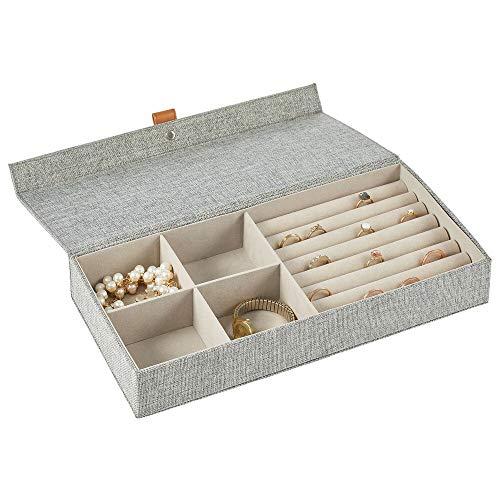 mDesign Joyero – Caja con tapa con 4 compartimentos y soportes de tela para anillos – Cajas organizadoras para pendientes, collares, pulseras y anillos – gris oscuro