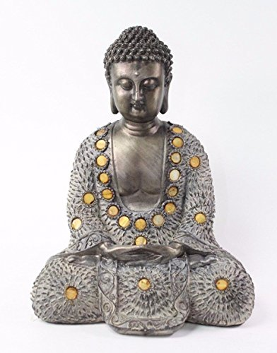 Feng Shui 10' Grey and Bronze Buddha Dhyani Mudra Home Decor Peace Statues