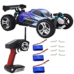 2019 latest version high speed RC Cars, Bonus Extra 2 pack battery, and extra 2 pack usb charger cable. total include 3 battery, 1 charger, and 2 USB charger cable. High Speed up to 50KM/H, 1/18 Scale, 4 Wheel Drive 2.4GHz RC Car vehicle buggy for Ad...