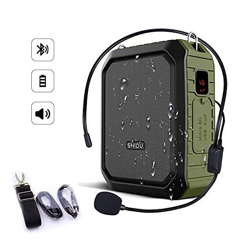 SHIDU Bluetooth-Sprachverstärker 18 W mit kabelgebundenem Mikrofon-Headset Tragbarer wasserdichter Bluetooth-Lautsprecher Wiederaufladbare PA-System-Energiebank für Außenaufnahmen, Lehrer, Duschen
