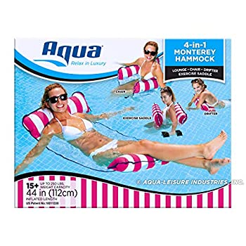 Aqua 4-in-1 Monterey Pool Hammock & Float 50% Thicker Patented Non-Stick PVC Multi-Purpose Water Hammock  Saddle Chair Hammock Drifter  Pool Chair for Adults - Pink