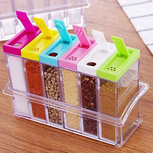 Lembeauty Set mit 6 Transparenten Gewürzdosen aus Kunststoff für die Küche