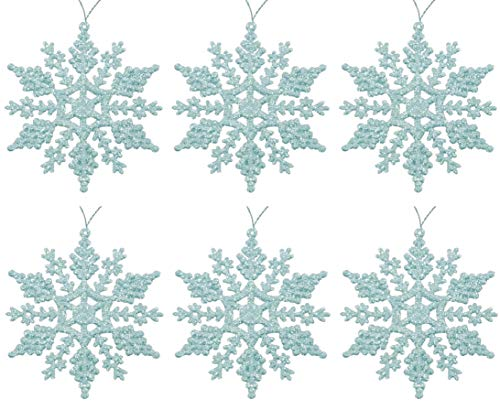 Toyland Pack Of 6 Baby Blue Glittery Hanging Snowflakes Christmas Tree Decorations