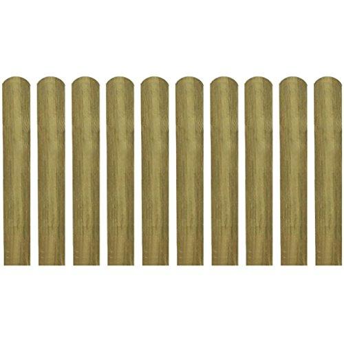 yorten Zaunlatte 10 STK. Imprägnierte Zaunlatten Holz 9 x 60 cm (B x H) für Garten Patio oder Terrasse