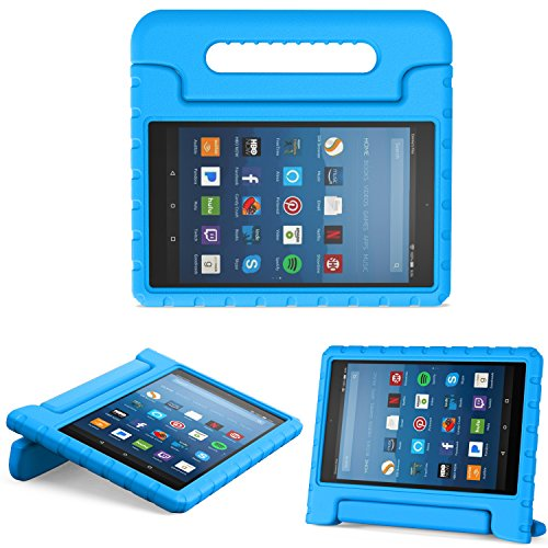 MoKo Nuevo Amazon Fire HD 8 2018 2017 Funda - Portátil Shock Proof Lightweight Kids Protector Parachoque Cover Case con Manija para All-New Fire HD 8 Tablet, Azul