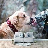 Papel Pintado 3D Murales Perro mascota sol- Fotomurales Para Salón Natural Landscape Foto Mural Pared, Dormitorio Corredor Oficina Moderno Festival Mural 450x300 cm - 9 tiras