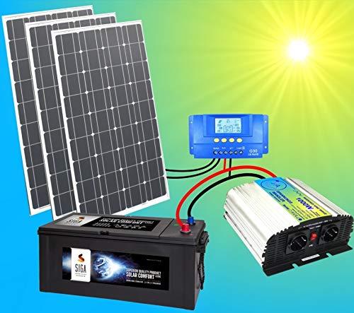 1A-INNOVATION SOLAR VORSPRUNG DURCH SONNENENERGIE Système solaire complet 220 V TÜV avec batterie 280 Ah + 3 panneaux solaires 100 W 300 W + 1000 W