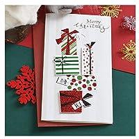 Zhangzidong 10ピース挨拶クリスマスカードビジネスクリスマスギフトメッセージカードHandamdeキラキラメリークリスマスカード1