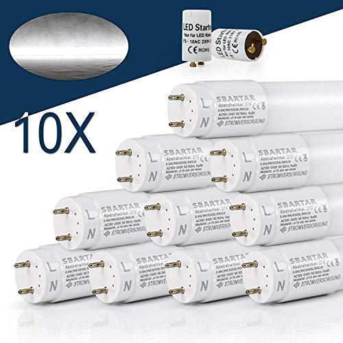 [10er PACK zum Sparpreis] SBARTAR LED Leuchtstoffröhre 150cm Kaltweiß 6000K 22W - Neonröhre 54 Watt - Ersatz für T8 Rasterleuchte Bürolampe Deckenleuchte/Leuchtstofflampe - 2500lm - inkl. Starter