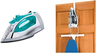 Sunbeam Steammaster Steam Iron | 1400 Watt Iron with Steam Control and Retractable Cord, Chrome/Teal & Whitmor Wire Over T...
