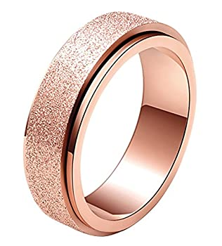 ALEXTINA Women s 6MM Stainless Steel Ring Spinner Band Sand Blast Finish Rose Gold Size 6