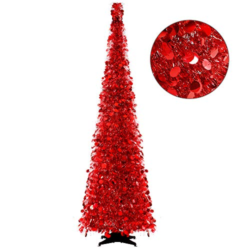Joy-Leo 6 Foot Red Sequin Pop Up Tinsel Christmas Tree, Easy to Assemble and Store, for Small Spaces Apartment Fireplace Party Home Office Store Classroom Xmas Decorations