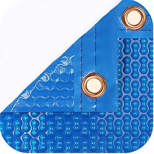 International Pool Protection Pack de protection thermique de 700 microns renforcé avec polyéthylène (5 x 4 m) + Enrouleur télescopique de 81 mm.