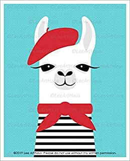 21J - French Llama in Red Beret UNFRAMED Wall Art Print by Lee ArtHaus