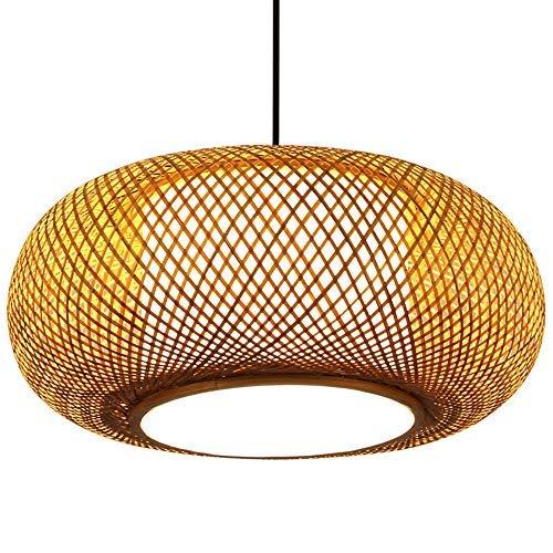 Candelabro de bambú, luz colgante, lámpara de techo china, bricolaje, pantalla de madera tejida hecha a mano, E27, luces colgantes Edison, accesorio ajustable, pantalla de madera antigua, 40 cm