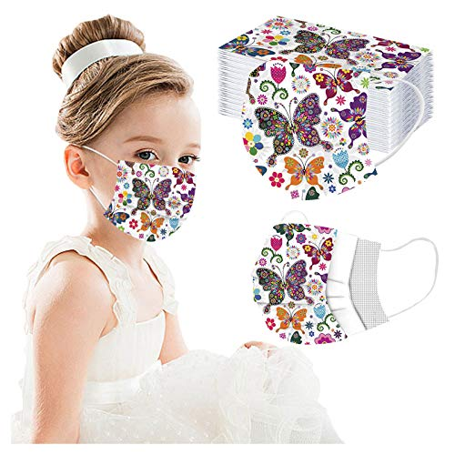 Disposable Kids Masks Breathable Colorful Cute Facemasks for Children Safety Mask Dust Air Pollution Protection (Multicolor) (Multicolor, 50PCS)