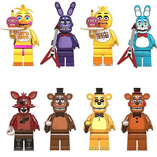 8Pcs / Set Five Nights at Freddy's Juego Figura Muñeca de Juguete Freddy Bonnie Foxy Chica Golden Freddy Toy Bonnie Toy Chica FNAF Animales y Figuras Colecciones Regalo para Niños Adultos 8PCS-4.5CM