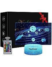Słoneczny system 3D, lampka nocna 3D, 16 zmieniających się kolorów, pilot zdalnego sterowania, prezent urodzinowy i bożonarodzeniowy dla dzieci (system słońca)
