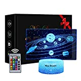Los Planetas Del Sistema Solar Luz Nocturna Infantil, Juguete Espaciales Para Chicos, 16 Cambio de Color Lámpara de Noche de Ilusión óptica 3D, Dormitorio Decoración