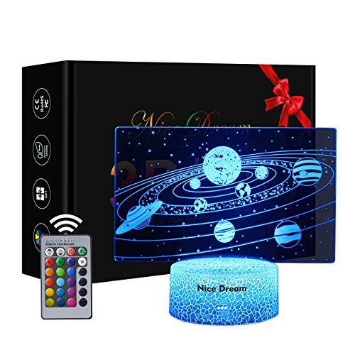 Los Planetas Del Sistema Solar Luz Nocturna Infantil, Juguete Espaciales Para Chicos, 16 Cambio de Color Lámpara de Noche de Ilusión óptica 3D, Dormitorio Decoración, Regalo niño niña