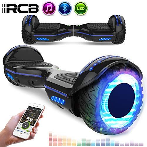 RCB Scooter Elettrico da 6,5 Pollici con LED Bluetooth su ruote brillante Auto bilanciamento 6.5'' Lampeggianti Bluetooth per Adulti e Bambini Regalo di Natale