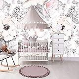 Customerize Größe Wandtapeten Mädchen Schlafzimmer Blumentapeten Baby Rosa Weißen Hintergrund Tapeten (W)250x(H)175cm