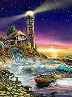 ダイヤモンドの絵画 ダイヤモンド刺繡灯台5Dフルスクエアダイヤモンド絵画クロスステッチ風景ラインストーン写真家の装飾