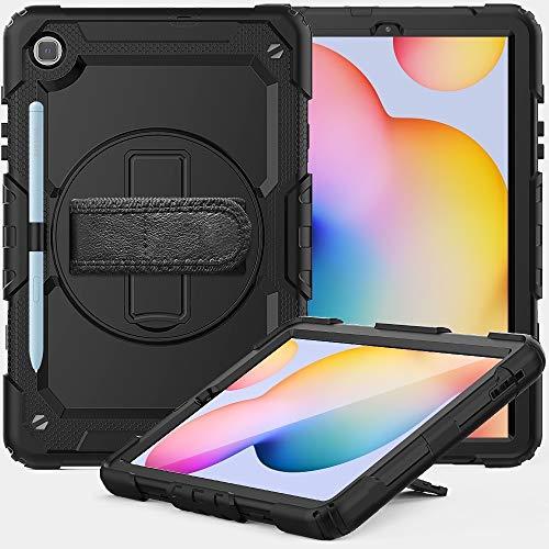 Caja protectora de la tableta para Samsung Galaxy Tab S6 Lite P610 Funda protectora de silicona colorida a prueba de golpes a prueba de choques con soporte y correa de hombro y correa de mano y ranura
