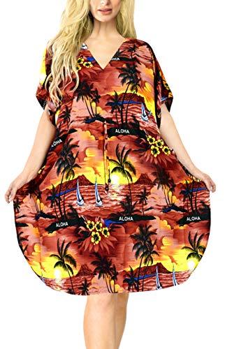 LA LEELA Frauen Damen Kaftan Tunika Gedruckt Kimono freie Größe kurz Midi Party Kleid für Loungewear Urlaub Nachtwäsche Strand jeden Tag Kleider Valentinstag Rot_D380 DE Größe: 42 (L) - 52 (4XL)