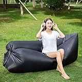 GOPG Outdoor Tragbare Luft Schlafsofa Aufblasbare Laken Menschen Lässig Schnell Aufblasbare Bett Faul Strand Sofa-Schwarz