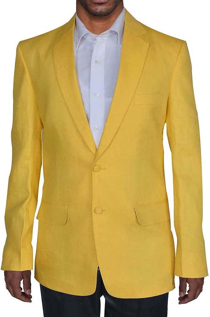 INMONARCH Mens Yellow 3 Pc Linen Tuxedo Suit Notch Collar TX990