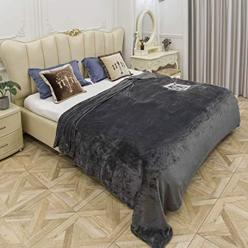 EUROSTYLE Sisi Fleecedecke, einfarbig, schwer, weich, für Bett und Sofa, sehr warm, aus Mikrofaser (Art. SISI 130 x 160 cm, dunkelgrau)