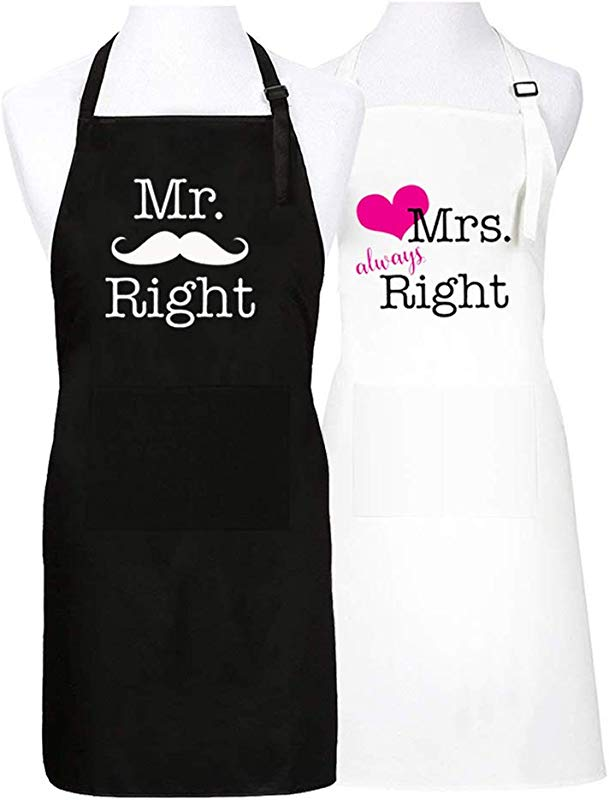 FortuneLoveGift Mr Right Mrs Always Right Aprons Funny Couple Gift Kitchen Cooking Aprons For Newlywed Wedding Bridal Shower Mr Right Mrs Always Right Aprons Pink Heart