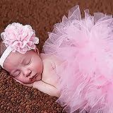 Fashband Baby Foto Prop Neugeborenen Mädchen Tutu Rock mit Blume Stirnband Outfits häkeln Babykleidung