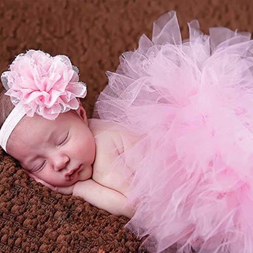 Fashband Baby Photo Prop Falda de tutú de niña recién nacida con diadema de flores Trajes de ganchillo Ropa de bebé