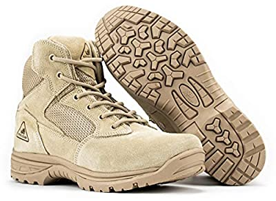 RYNO GEAR Tactical Combat Boots with Coolmax Lining (Beige) (6, 9)