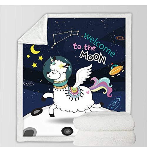 Xzfddn Manta de unicornio con dibujos animados florales Sherpa manta para niños y niñas, sofá de felpa suave, colcha fina modelo 9