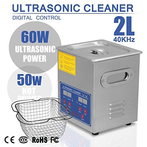 BuoQua 2L 10A Ultraschallreinigungsgerät Mit Heizung 60W Ultraschallreiniger aus Edelstahl Ultraschallbad Ultraschall Reinigungsgerät für Brillen Schmuck Zahnprothesen Münzen usw. (2L)