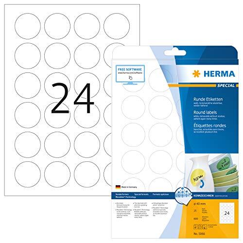HERMA 5066 Universal Etiketten DIN A4 ablösbar (Ø 40 mm, 25 Blatt, Papier, matt, rund) selbstklebend, bedruckbar, abziehbare und wieder haftende Adressaufkleber, 600 Klebeetiketten, weiß