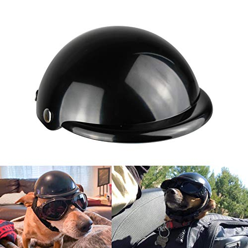 Enjoying Pet Helmet - Motorcycle Dog Helmet Bike Cat Hat Riding Doggie Cap Black, Small