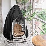 Funda para sillón colgante, 115 x 190 cm, resistente al polvo, para sillón colgante, funda protectora para silla colgante, funda protectora para sillón flotante, tela Oxford 210D (negro)