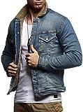 Leif Nelson Herren Jeansjacke Basic Stretch Jeans Jacke Fell Stehkragen Übergangsjacke Hoodie Freizeitjacke LN9610; Größe M, Dunkel Blau