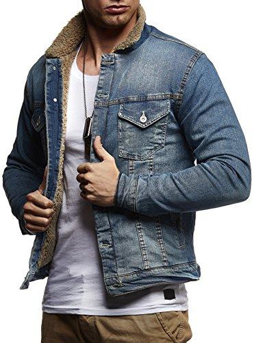 Leif Nelson Herren Jeansjacke Basic Stretch Jeans Jacke Fell Stehkragen Übergangsjacke Hoodie Freizeitjacke LN9610; Größe XXL, Dunkel Blau